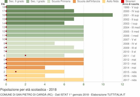Grafico Popolazione in età scolastica - San Pietro di Caridà 2018