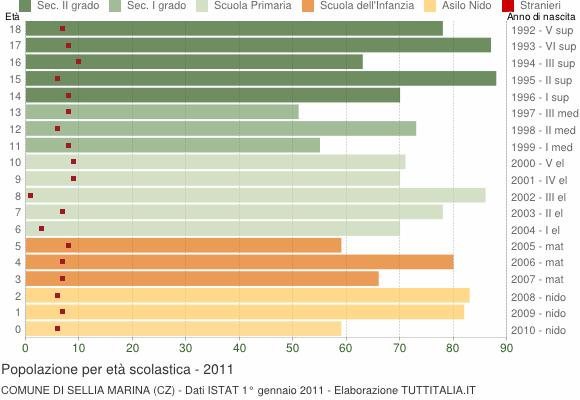 Grafico Popolazione in età scolastica - Sellia Marina 2011