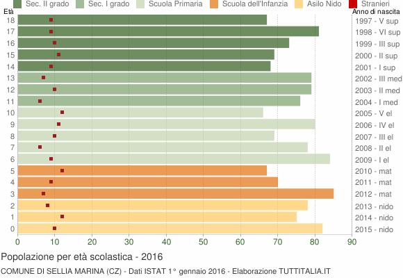 Grafico Popolazione in età scolastica - Sellia Marina 2016