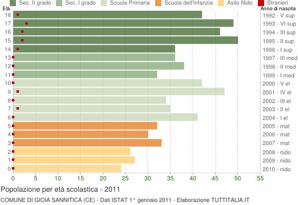 Grafico Popolazione in età scolastica - Gioia Sannitica 2011