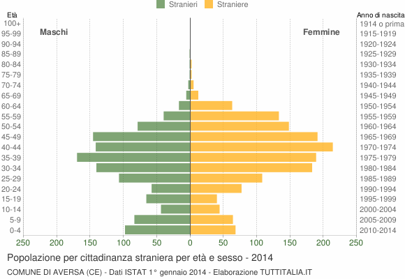 Grafico cittadini stranieri - Aversa 2014