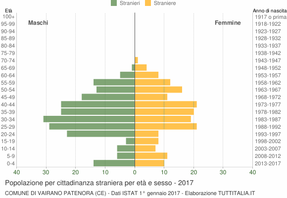 Grafico cittadini stranieri - Vairano Patenora 2017