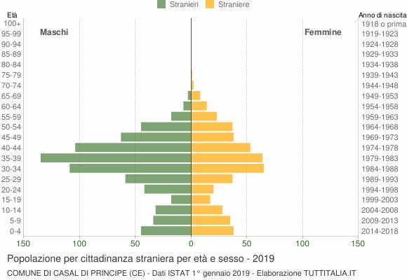 Grafico cittadini stranieri - Casal di Principe 2019