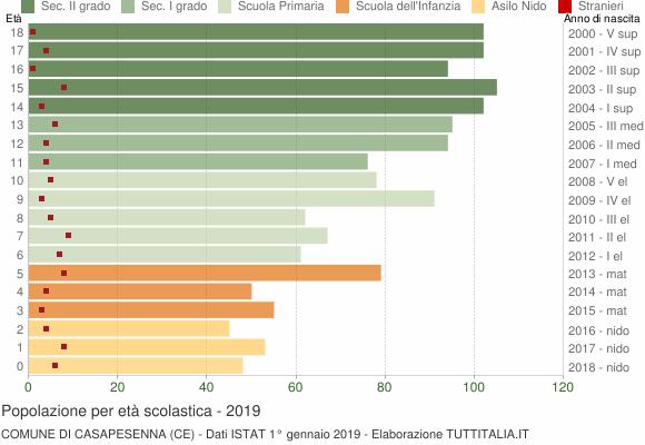 Grafico Popolazione in età scolastica - Casapesenna 2019