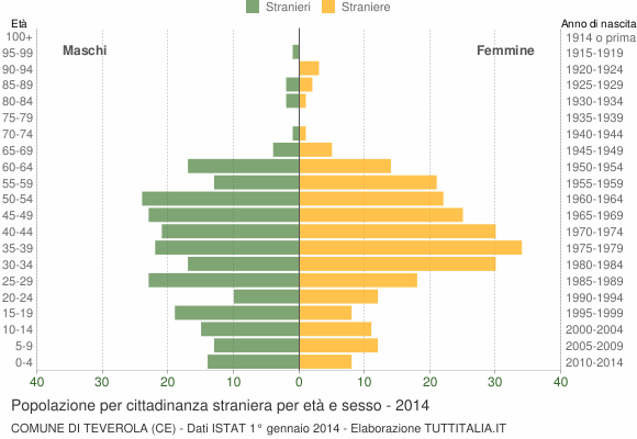 Grafico cittadini stranieri - Teverola 2014