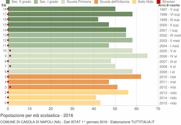 Grafico Popolazione in età scolastica - Casola di Napoli 2016