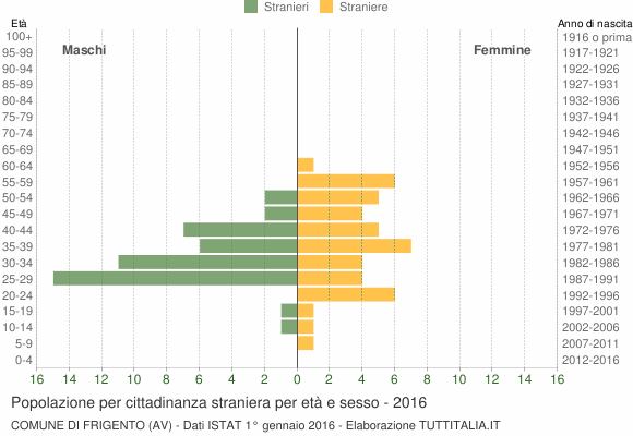 Grafico cittadini stranieri - Frigento 2016