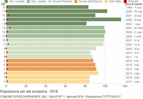 Grafico Popolazione in età scolastica - Roccapiemonte 2018