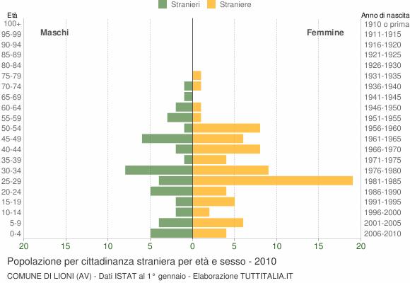 Grafico cittadini stranieri - Lioni 2010