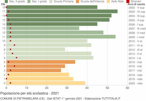 Grafico Popolazione in età scolastica - Pietramelara 2021