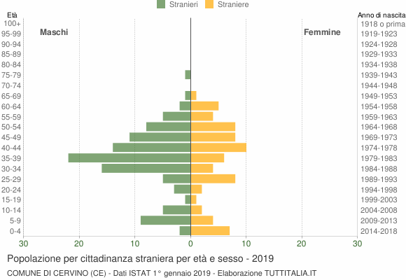 Grafico cittadini stranieri - Cervino 2019