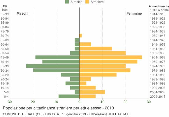 Grafico cittadini stranieri - Recale 2013