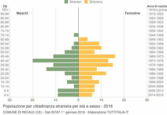 Grafico cittadini stranieri - Recale 2018