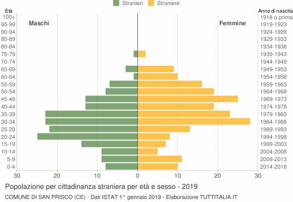 Grafico cittadini stranieri - San Prisco 2019