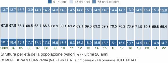 Grafico struttura della popolazione Comune di Palma Campania (NA)
