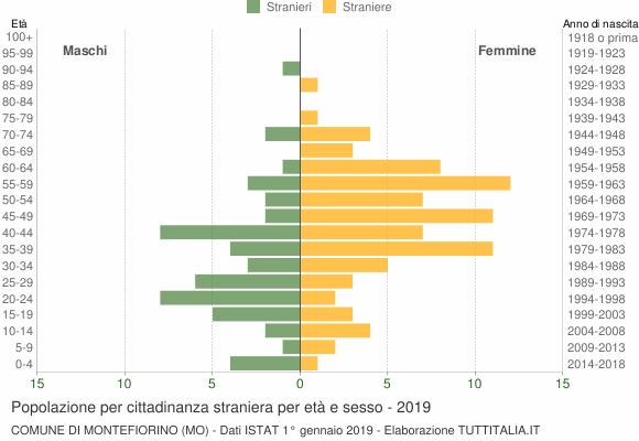 Grafico cittadini stranieri - Montefiorino 2019