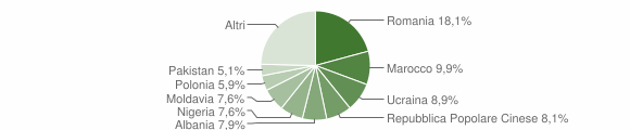 Grafico cittadinanza stranieri - Vigarano Mainarda 2019