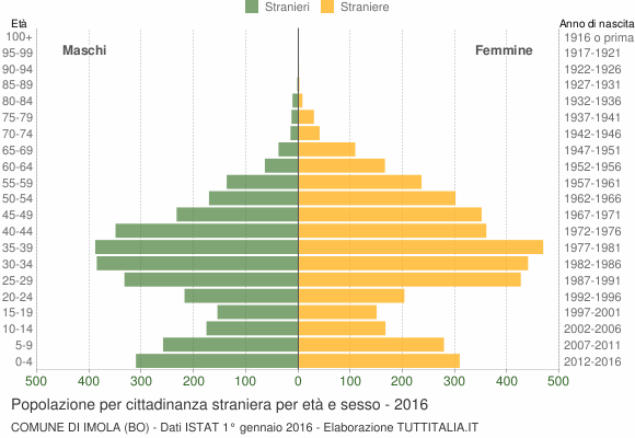 Grafico cittadini stranieri - Imola 2016