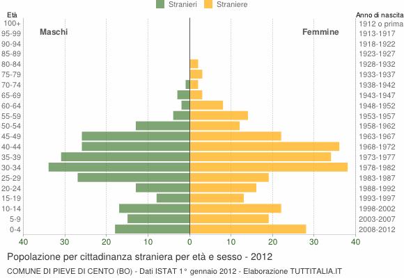 Grafico cittadini stranieri - Pieve di Cento 2012