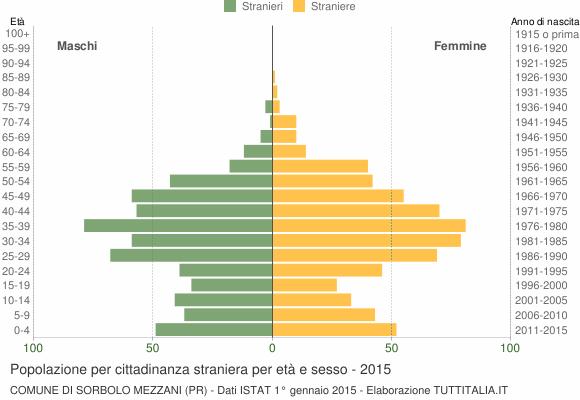 Grafico cittadini stranieri - Sorbolo Mezzani 2015
