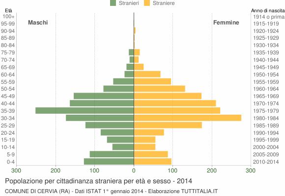 Grafico cittadini stranieri - Cervia 2014
