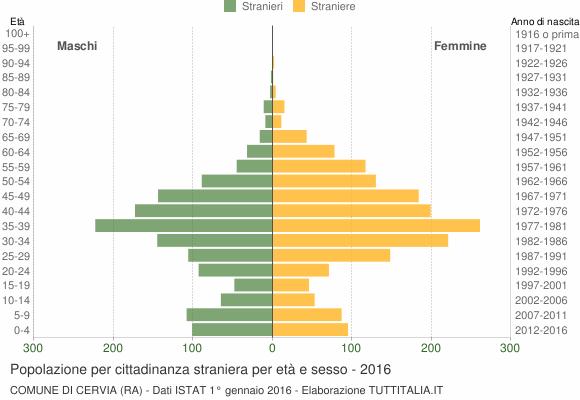 Grafico cittadini stranieri - Cervia 2016