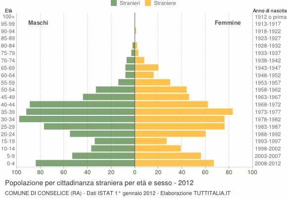 Grafico cittadini stranieri - Conselice 2012