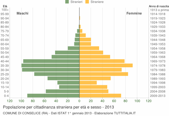 Grafico cittadini stranieri - Conselice 2013