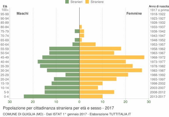Grafico cittadini stranieri - Guiglia 2017
