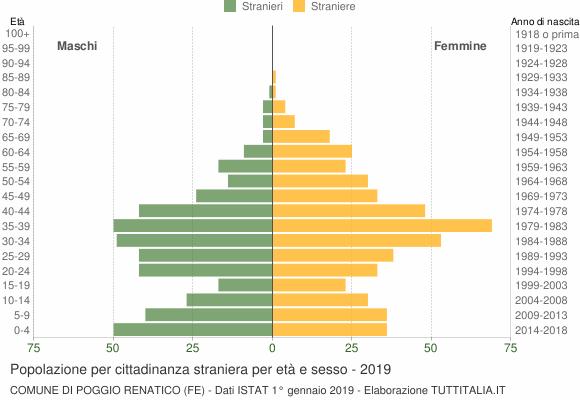 Grafico cittadini stranieri - Poggio Renatico 2019