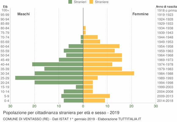 Grafico cittadini stranieri - Ventasso 2019