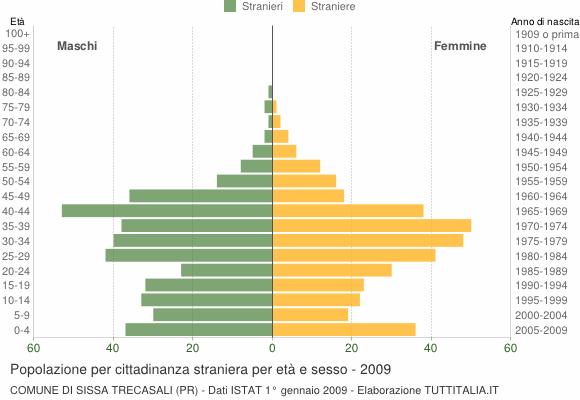Grafico cittadini stranieri - Sissa Trecasali 2009