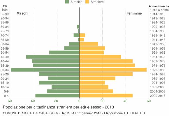 Grafico cittadini stranieri - Sissa Trecasali 2013