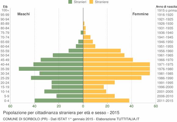 Grafico cittadini stranieri - Sorbolo 2015