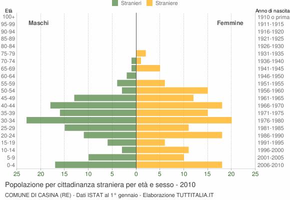 Grafico cittadini stranieri - Casina 2010