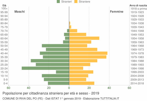Grafico cittadini stranieri - Riva del Po 2019