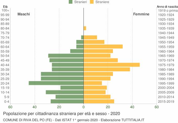 Grafico cittadini stranieri - Riva del Po 2020