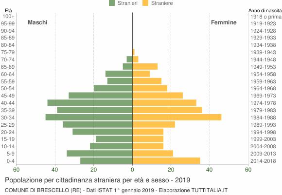 Grafico cittadini stranieri - Brescello 2019