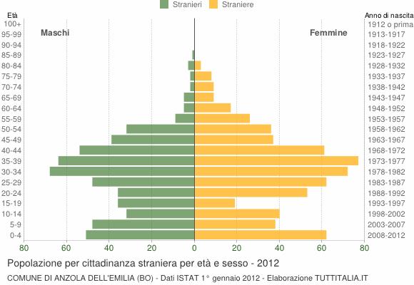 Grafico cittadini stranieri - Anzola dell'Emilia 2012