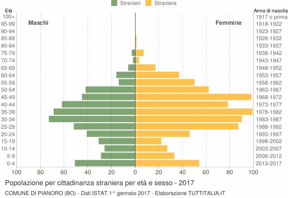Grafico cittadini stranieri - Pianoro 2017
