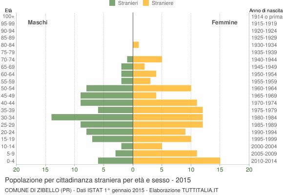Grafico cittadini stranieri - Zibello 2015