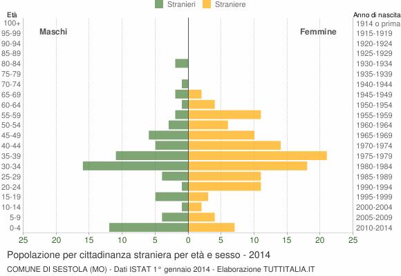 Grafico cittadini stranieri - Sestola 2014
