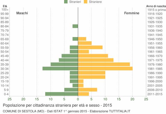 Grafico cittadini stranieri - Sestola 2015