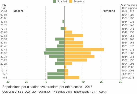 Grafico cittadini stranieri - Sestola 2018