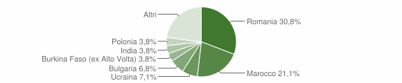 Grafico cittadinanza stranieri - Sarsina 2019