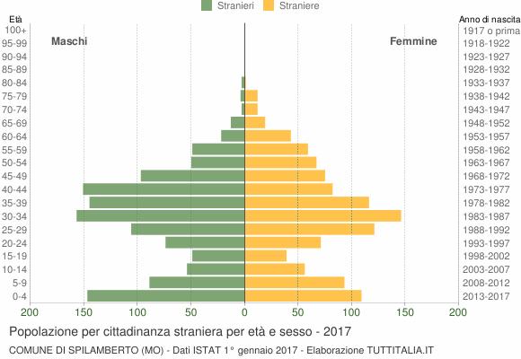 Grafico cittadini stranieri - Spilamberto 2017