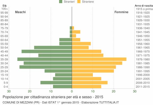 Grafico cittadini stranieri - Mezzani 2015