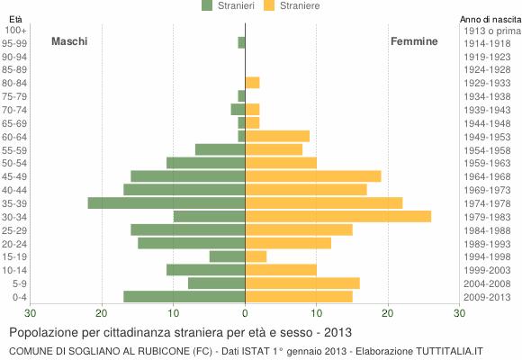 Grafico cittadini stranieri - Sogliano al Rubicone 2013