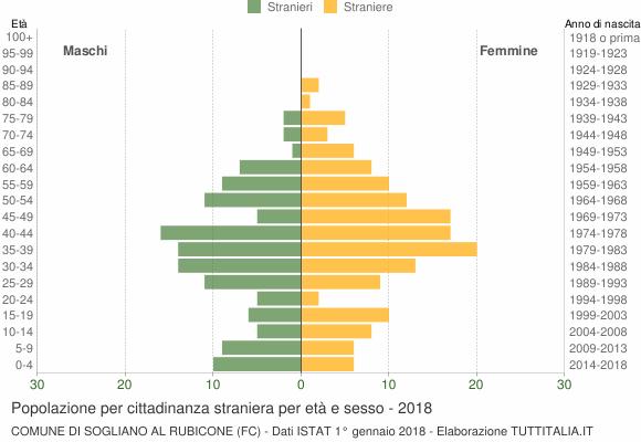 Grafico cittadini stranieri - Sogliano al Rubicone 2018