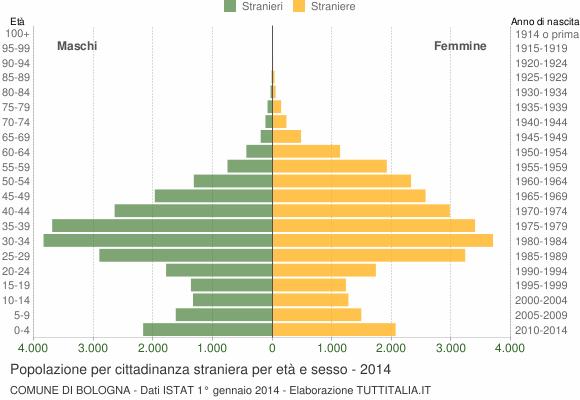 Grafico cittadini stranieri - Bologna 2014